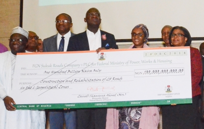 Handover of the second N100 Billion Sukuk Cheque to the Ministry of Power, Works and Housing